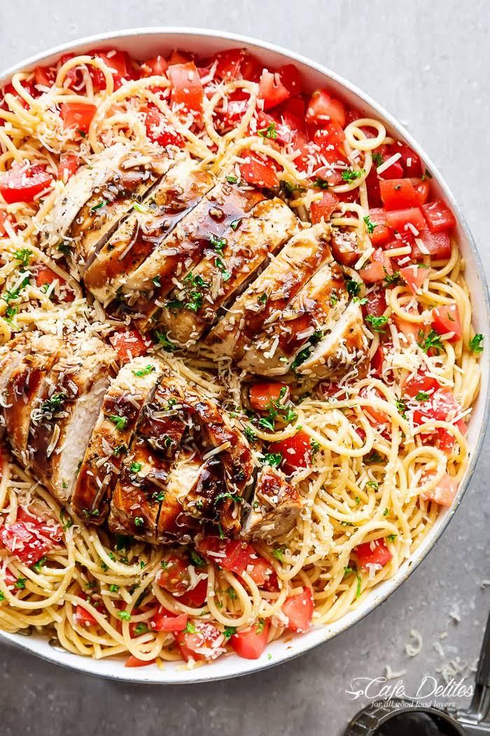 Bruschetta Chicken Pasta Salad Recipe