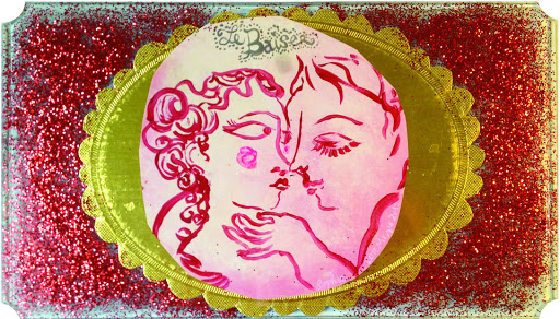 Le Baiser petit tableau painture contemporaine acrylique papier verre collage paillettes rouge tendresse bisou amour maoureux fiancé mariage onirisme klimt chagall art paris sophie lormeau