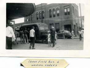 Photo: Downtown Beeville, Circa '43-44 Notice the Chase Field bus waiting for cadets. Photo Courtesy Don Kochi