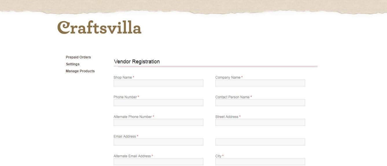 craftvilla rgistration form
