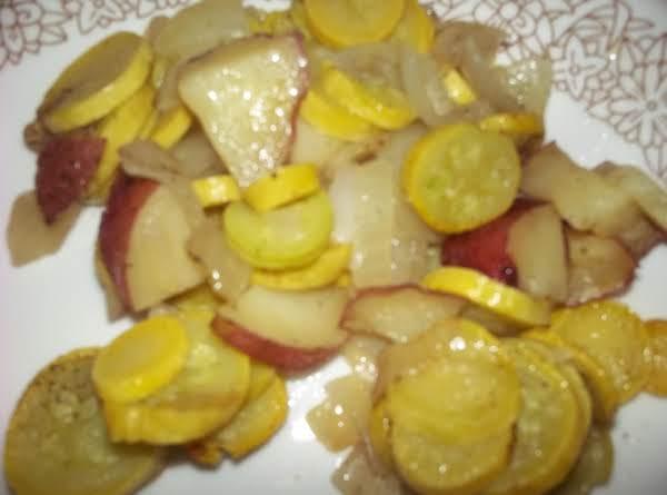 Microwaved Squash, Potatoes & Onions