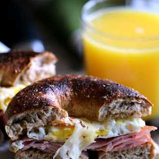 Ham, Egg & Pepper Jack Cheese Bagel Sandwiches.