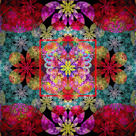 Julia Modified Floral by Peggi Wolfe - Illustration Abstract & Patterns ( digital, gift, floral, color, wolfepaw, jwildfire, bright, pattern, abstract, décor, print, julia, unique, fractal, illustration, unusual, fun )