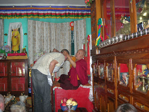 Photo: Lyngve is blessed by a lama in Kathmandu