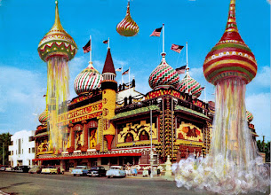 "Photo: Corn Palace Spaceport This place sure looked like a space port to those aliens. acrylic on vintage postcard 9"" x 6 1/2"""