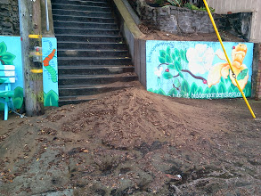 Photo: First rain of season (Saturday, September 21, 2013) provides example of soil flowing downhill into soil-clogged drain, over part of the mural at foot of the Hidden Garden Steps site (16th Avenue, between Kirkham and Lawton streets in San Francisco's Inner Sunset District), and onto the sidewalk. San Francisco Department of Public Works employees are in the final stages of creating erosion-control barriers on the hill before the Hidden Garden Steps 148-step ceramic-tile mosaic designed and created by artists Aileen Barr and Colette Crutcher is installed. For more information about this volunteer-driven community-based project supported by the San Francisco Parks Alliance, the San Francisco Department of Public Works Street Parks Program, and hundreds of individual donors, please visit our website at http://hiddengardensteps.org.