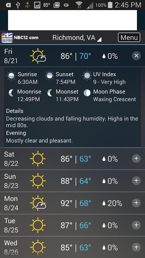 NBC 12 First Warning Weather- screenshot