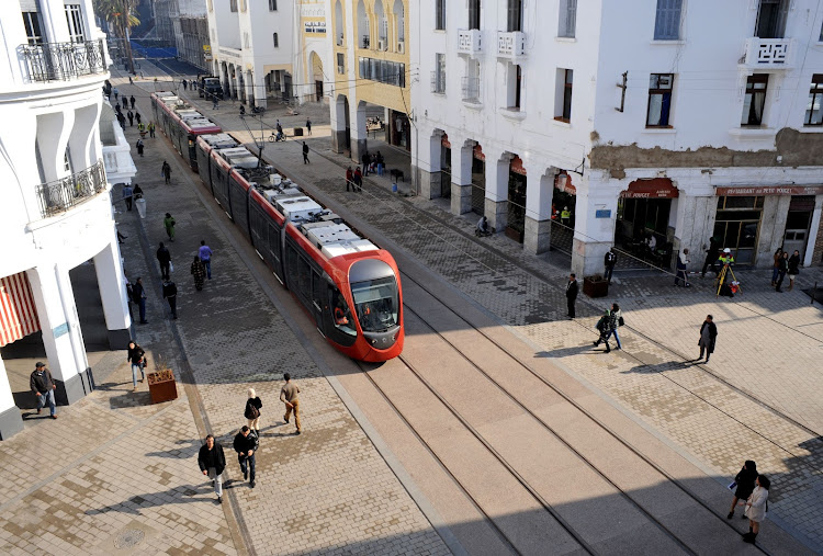 STREETS AHEAD: An aerial view of the Citadis tram service in the city centre of Casablanca, Morocco. Picture: ALSTOM/P THEBAULT