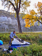 Photo: Setting up my tent at the Slaughter River Campground on Friday evening - Photo by TRB
