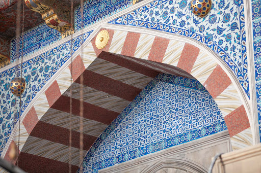 Wonderfully intricate tile artwork adorn the walls of the Rüstem Pasha Mosque in Istanbul.