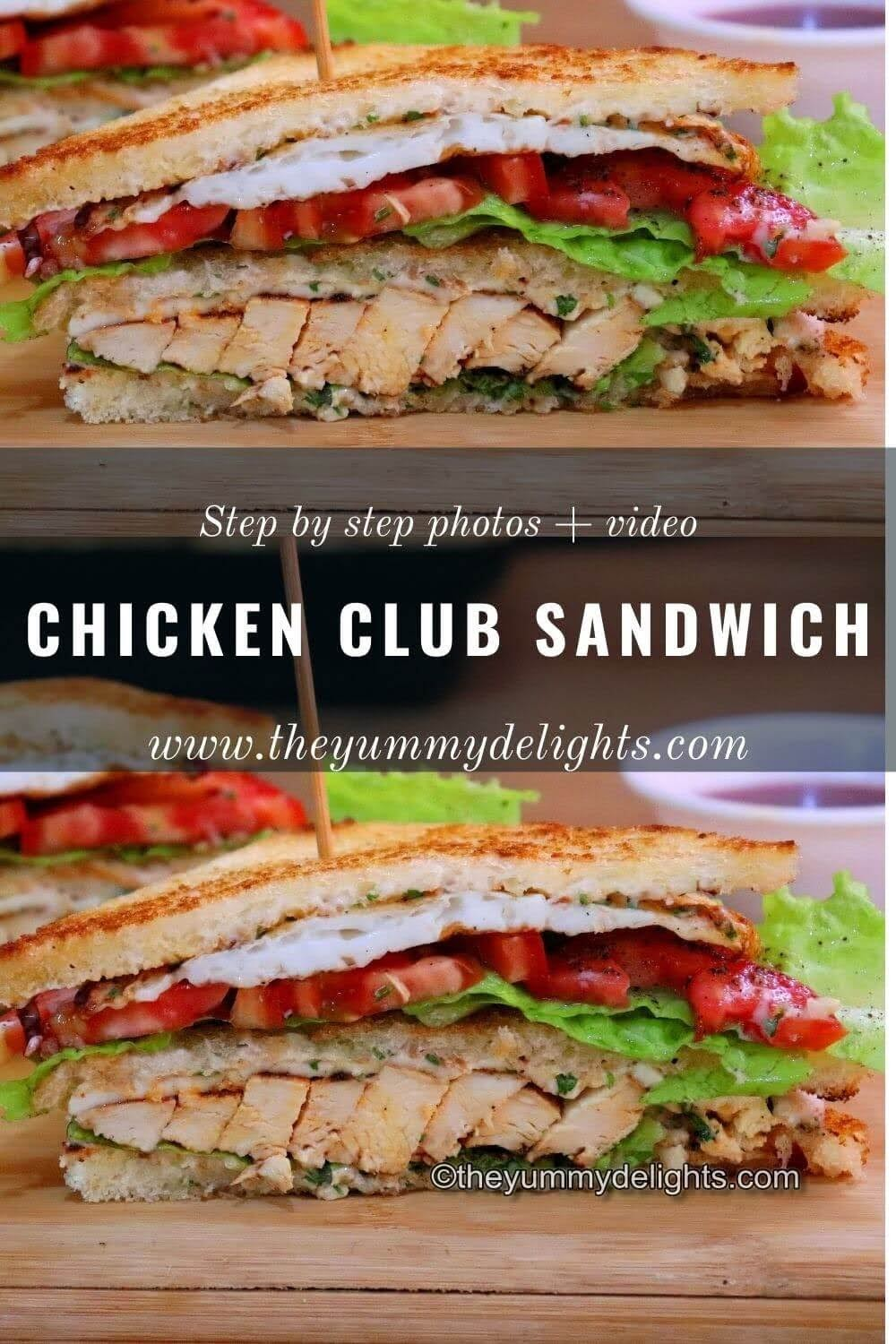 close-up view of chicken club sandwich. All the layers of the club sandwich like grilled chicken, lettuce, tomatoes, fried egg and cheese are visible.