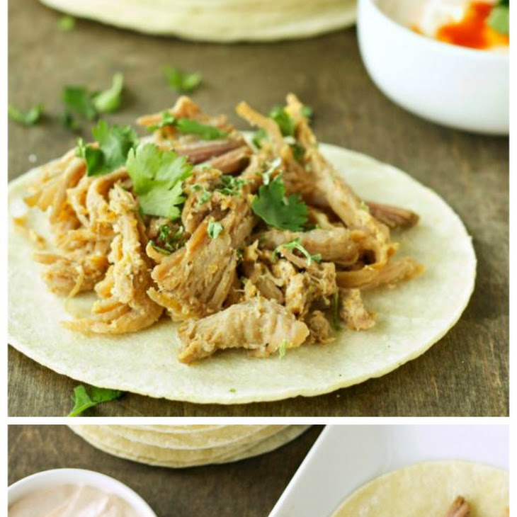 Slow Cooker Pork Tacos With Adobo Sour Cream from Slow Cooker Gourmet