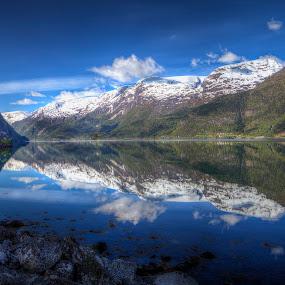 Morning reflections in Sørfjorden by Sigbjørn Fjellheim - Landscapes Weather ( hardanger )