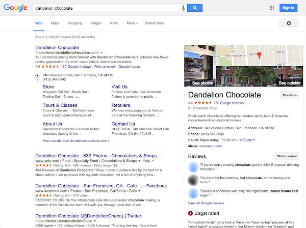 votre fiche google My Business lors d'une recherche classique