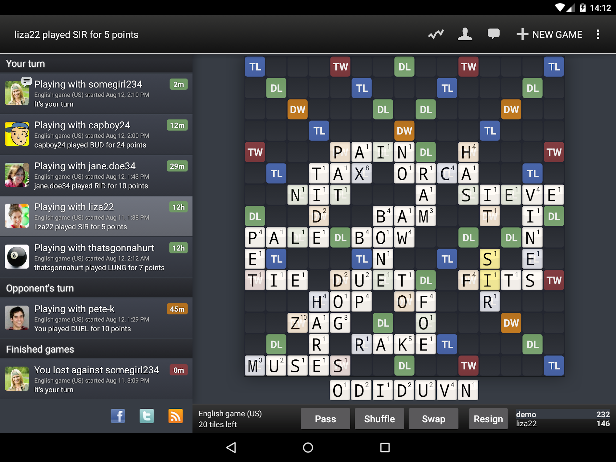 Wordfeud screenshot #9