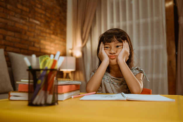 Child suffering from math anxiety