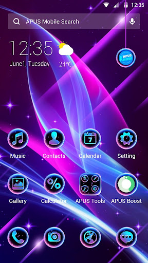 Blue Purple Neon APUS Launcher Theme - screenshot