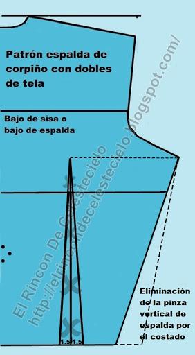 Eliminando pinza vertical por costado en patrón espalda de corpiño