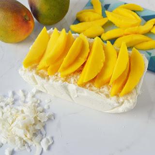 No-Churn Coconut Ice Cream with Fresh Mango