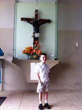 Photo: Luke wanted this picture with yet another copy of the Black Jesus.  This one is in the narthex, which is always kept open.  This copy is behind glass and available for veneration.
