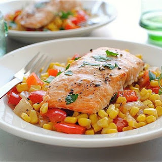 Grilled Cedar Plank Salmon with a Corn and Pepper Relish