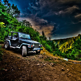 Mountain Jeep by Luke Porter - Landscapes Mountains & Hills ( epic, crazy colors, mountain, tri color, hdr, utah, jeep, offroad, focus )