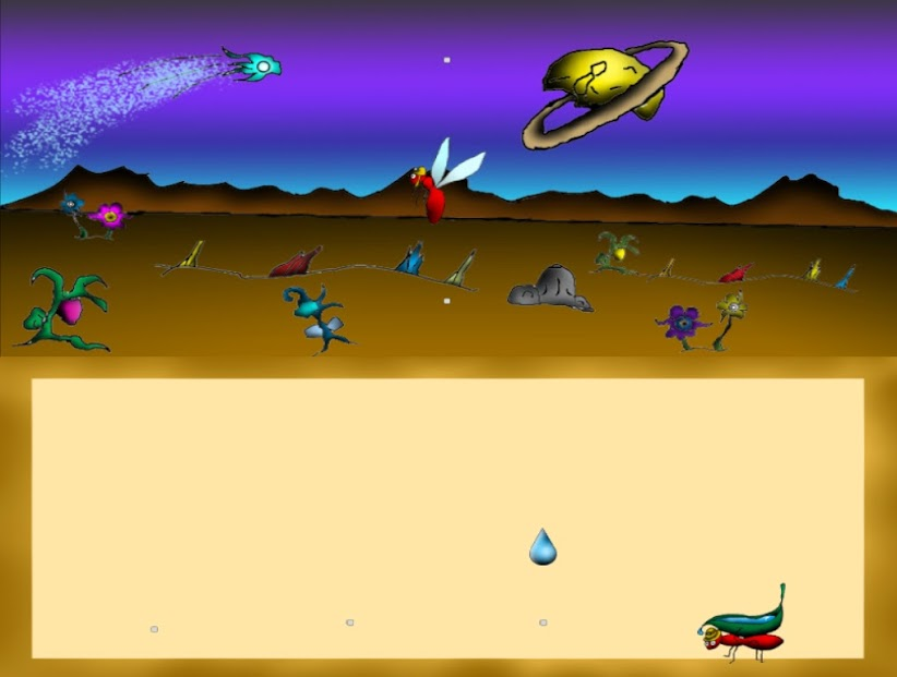 En la parte superior nos vemos de arriba, al centro y abajo para esquivar un meteorito. En la parte inferior hay que moverse simultáneamente en cuatro puntos de izquierda a derecha para agarrar las gotas de agua que caen desde el centro de la pantalla.