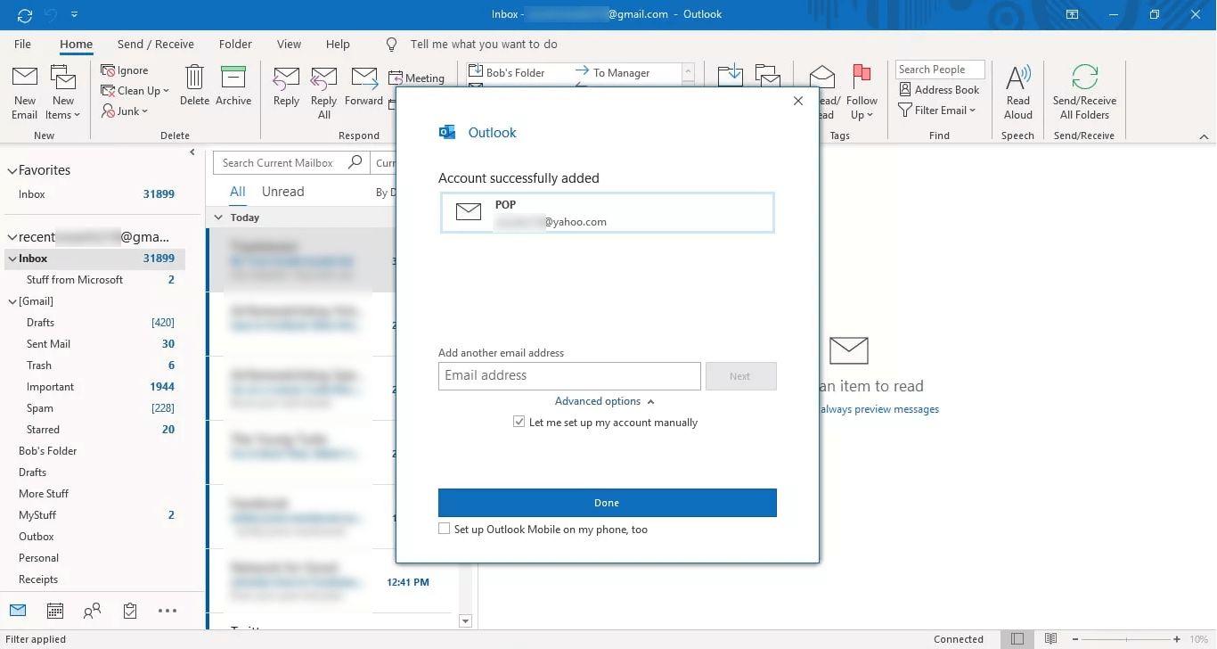 Click on Done button, to end up the connection of your Yahoo Mail to Outlook via POP.