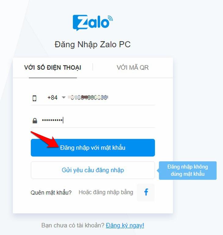 Cách đăng nhập zalo bằng số điện thoại và mật khẩu