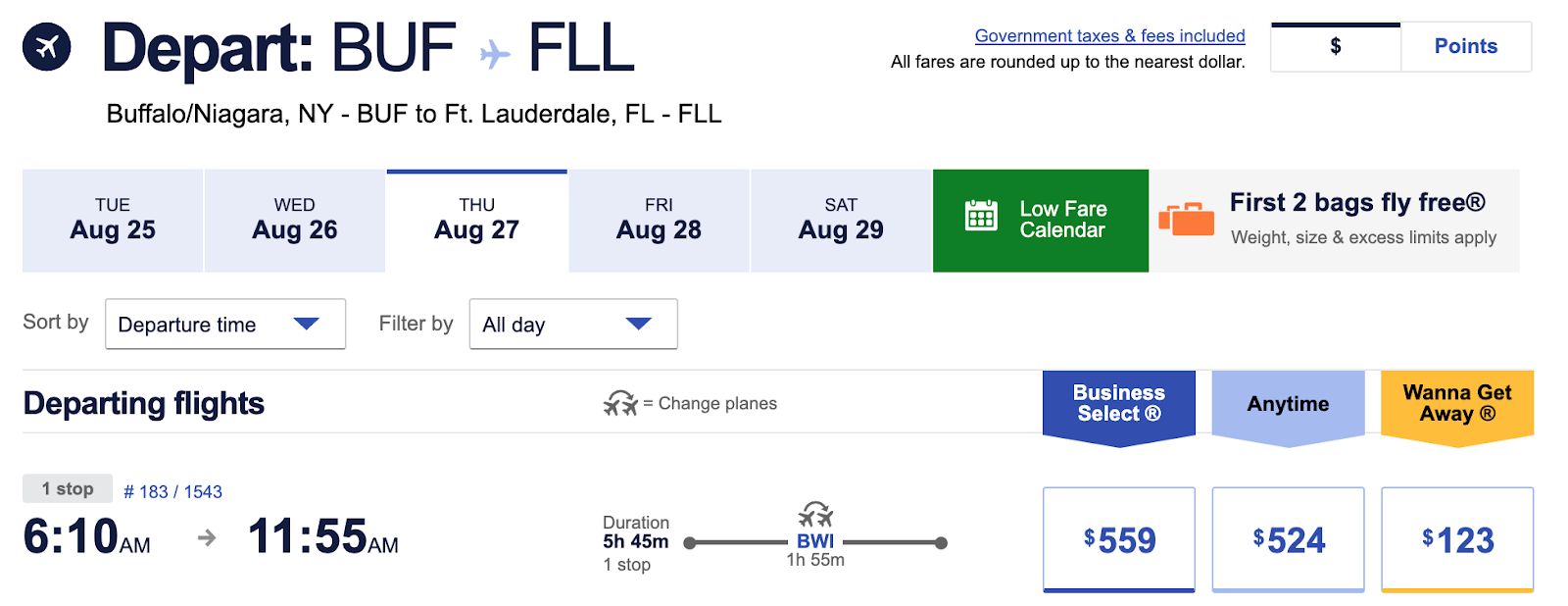 Screenshot of Southwest Flight booking from BUF-FLL for $123 wanna getaway fare