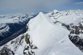 Photo: The corniced ridge of Twins Tower.