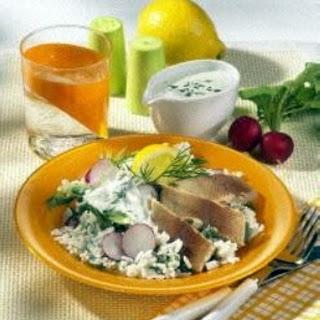 Reissalat mit Räucherforelle