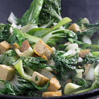 Tofu with Baby Bok Choy & Oyster Sauce.