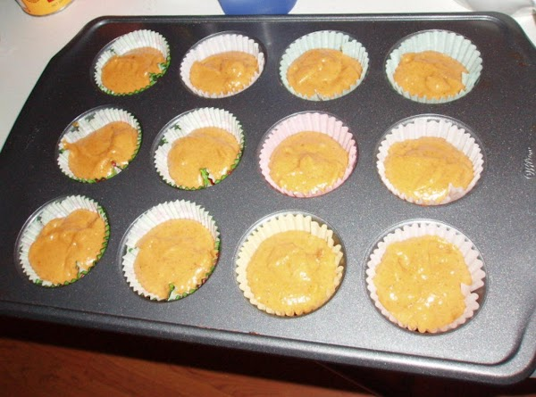 Bake in preheated oven for 45 minutes to 1 hour...350 drgrees..The muffins i cook...