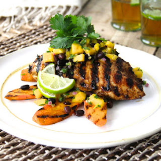 Jamaican Jerk-Style Chicken with Black Bean - Mango Salsa.