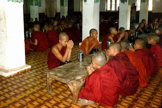 Photo: The novices and monks had two meals a day; one in the morning around 6 AM and another at noon.  The noon meal was in the little 3-tiered metal container.