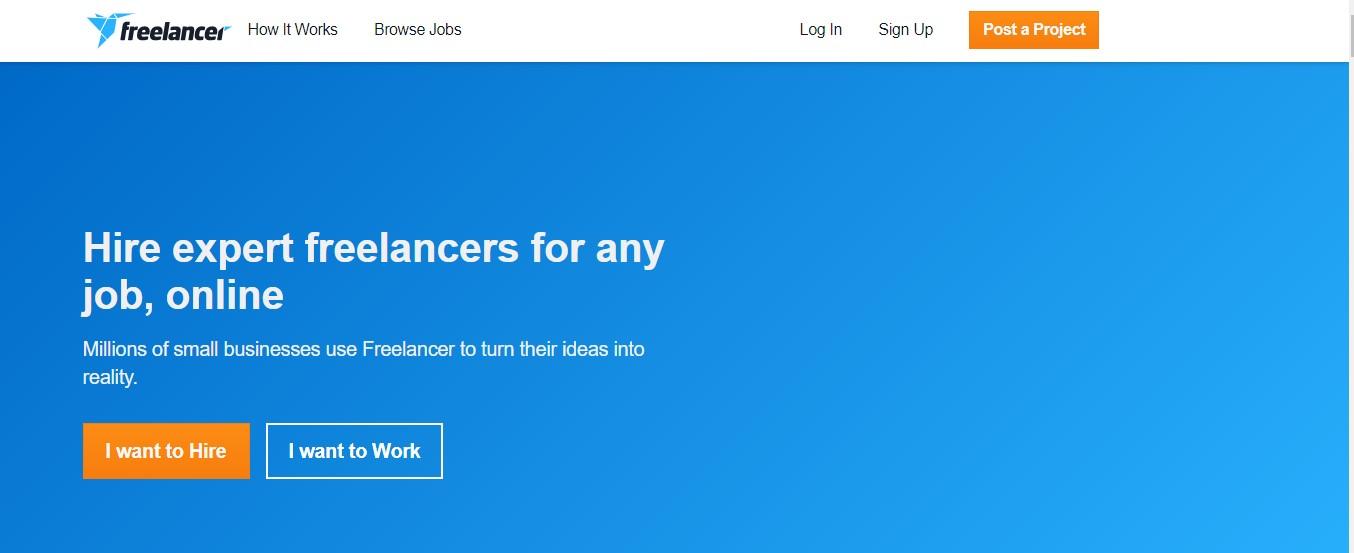 Página de destino del freelancer.