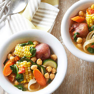 Braised Chickpeas With Mid-Summer Vegetables