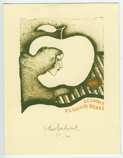 092. Bookplate. VLADIMÍR BENEŠ. Profile of woman in a white apple.