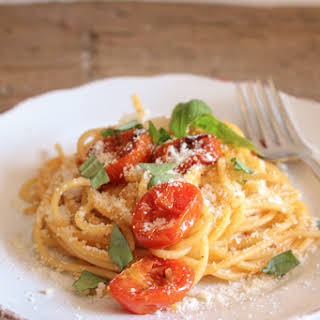 Spaghetti with Oven Dried Parmesan Tomatoes.
