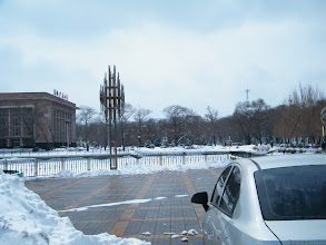 Photo: snow scene in QRRS front square, on way benzrad ate lunch in the canteen for QRRS staff. without family life, benzrad had to survive homeless in dark praying for his new Royal China.