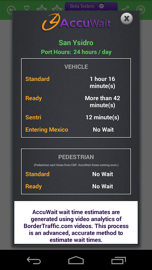 Border Traffic App- screenshot