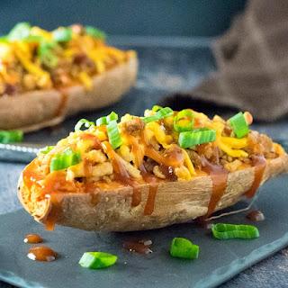 BBQ Turkey Loaded Sweet Potatoes.