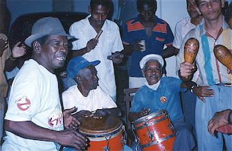 Photo: Néné, Chan, Monguito et un musicien du Septeto Turquino - janvier 1993 - Casa del Caribe
