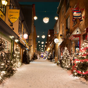 Quebec City by Maggie B - City,  Street & Park  Historic Districts ( lights, winter, quebec, snow, quebec city )