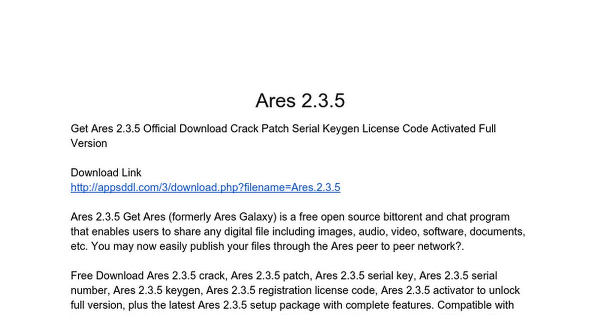 Ares Serials Keys