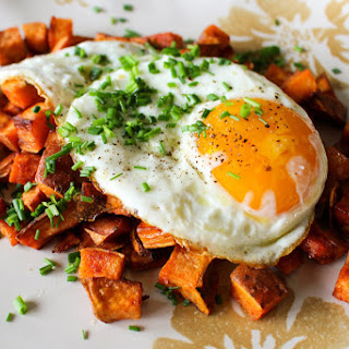 Sweet Potato + Bacon Hash with Crispy Fried Eggs