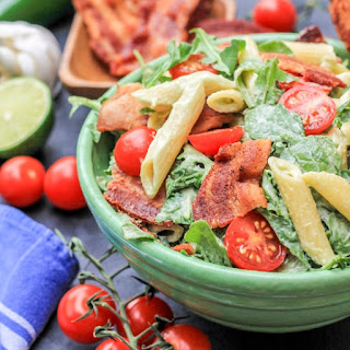 BLT Pasta Salad with Creamy Spicy Avocado Sauce.