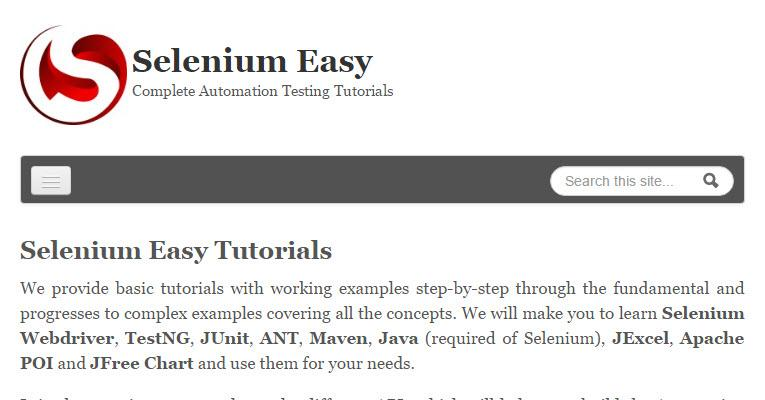 Selenium Easy Tutorials- screenshot
