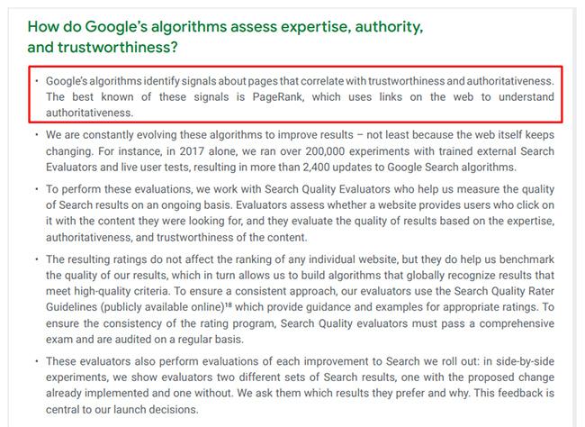 цитата Google про учет PageRank в расчете авторитетности сайта